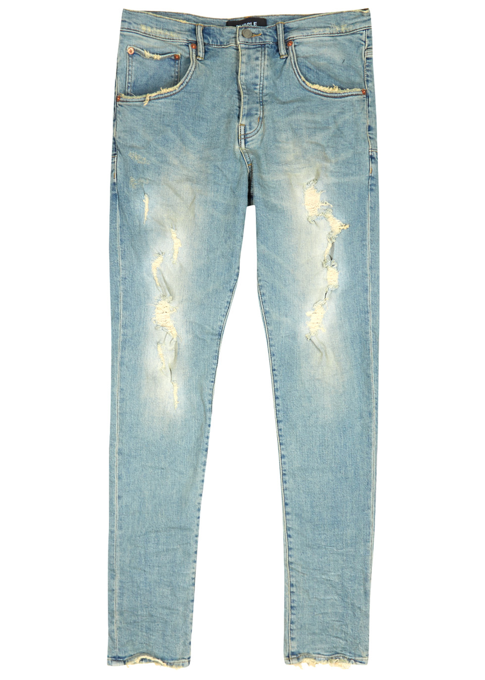 PURPLE 001 Distressed Skinny Jeans in Blue