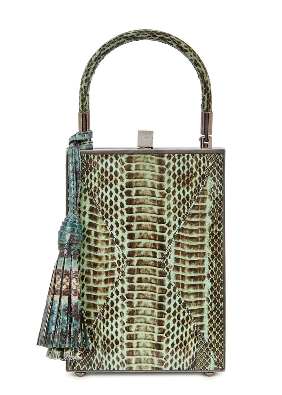 JILL HABER NILES DARK GREEN OSTRICH BOX BAG