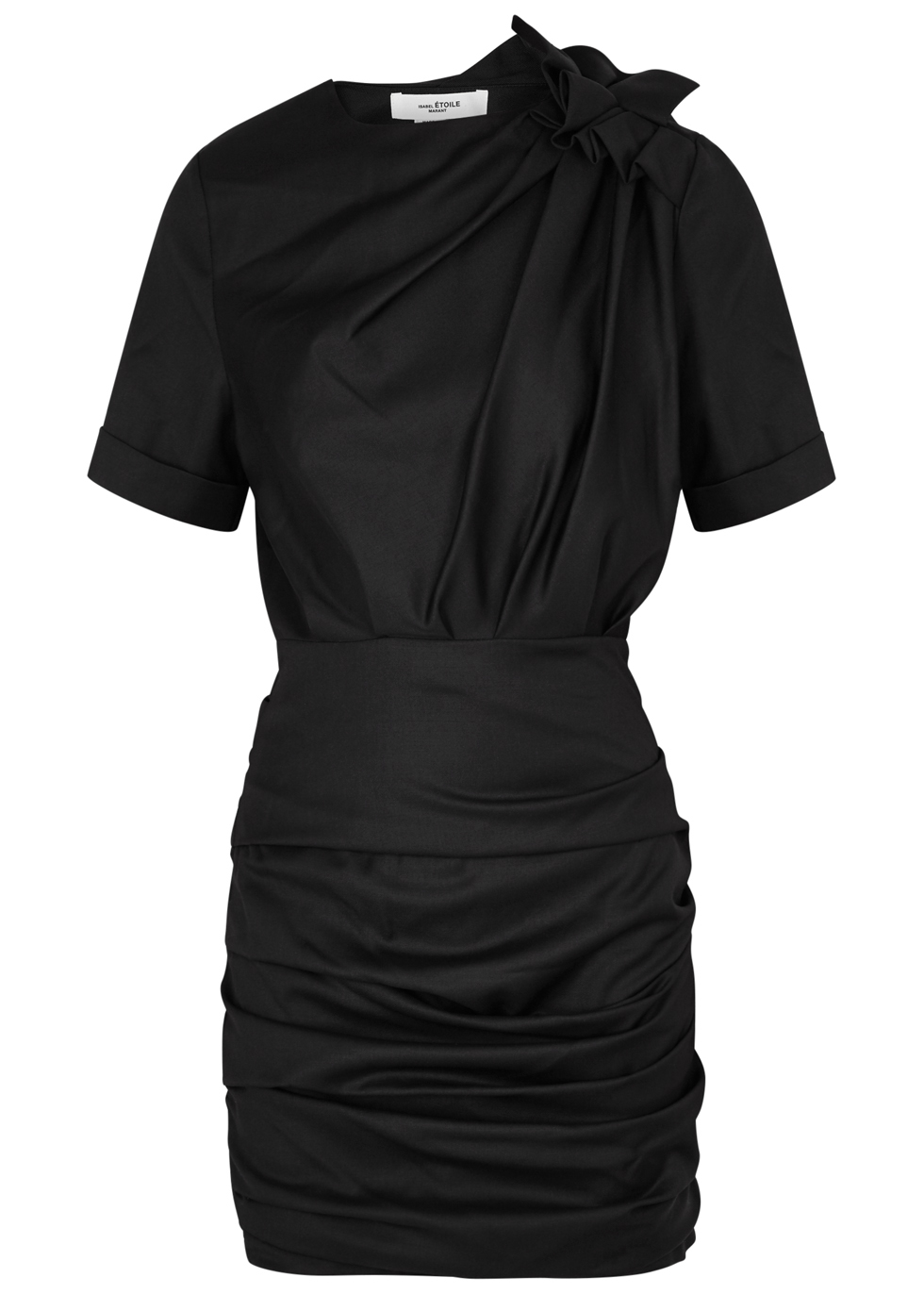 ETOILE ISABEL MARANT ORIA BLACK RUCHED TWILL DRESS