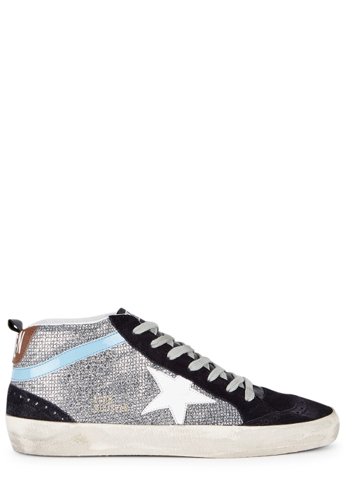b45fe5682 Golden Goose Deluxe Brand Mid-star glittered leather trainers ...