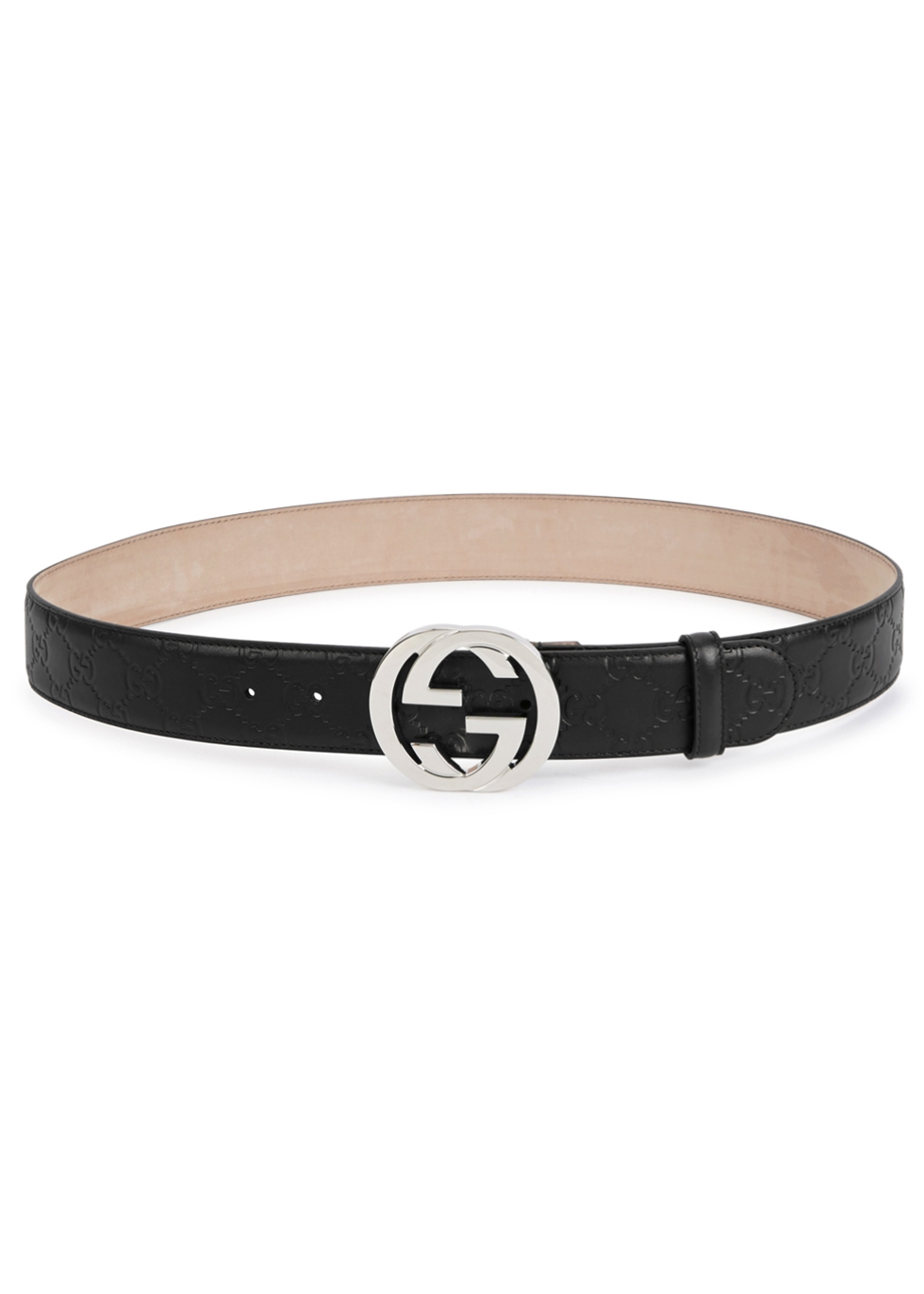 GUCCI BLACK MONOGRAMMED LEATHER BELT
