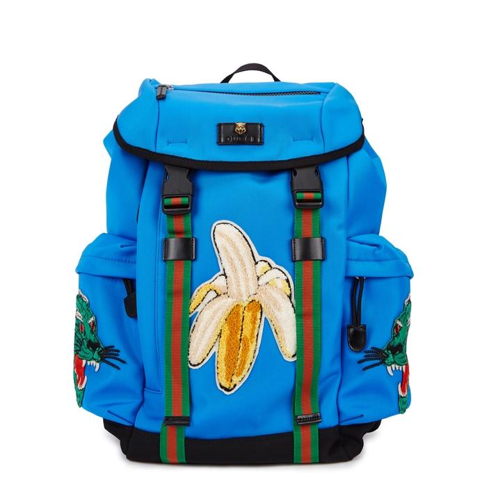 Gucci Blue Appliquéd Canvas Backpack