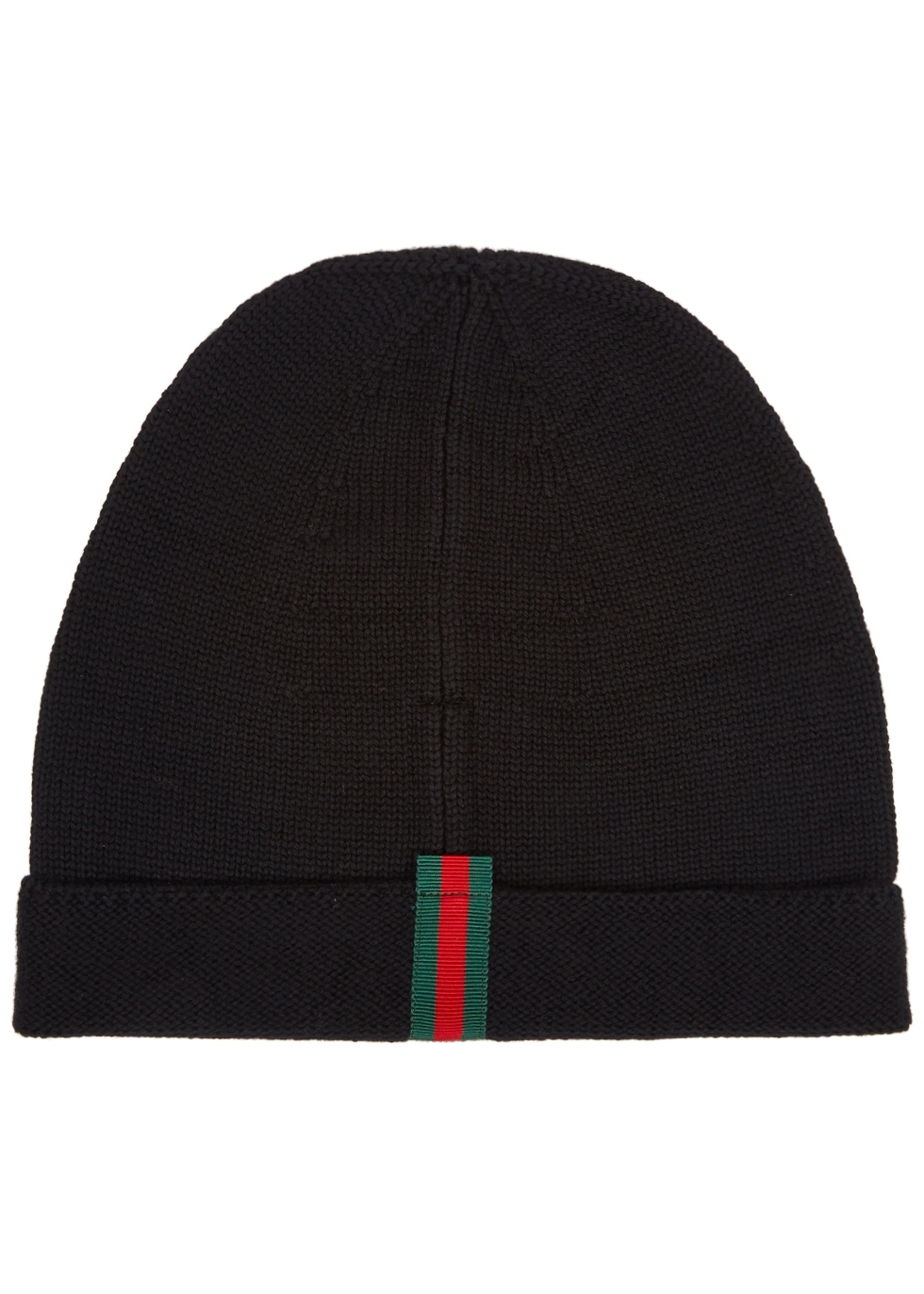 GUCCI BLACK FINE-KNIT WOOL BEANIE