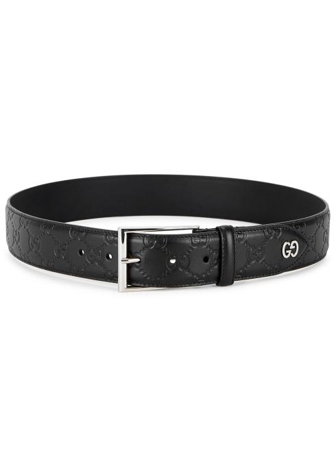 815f02eec Gucci Black monogrammed leather belt - Harvey Nichols