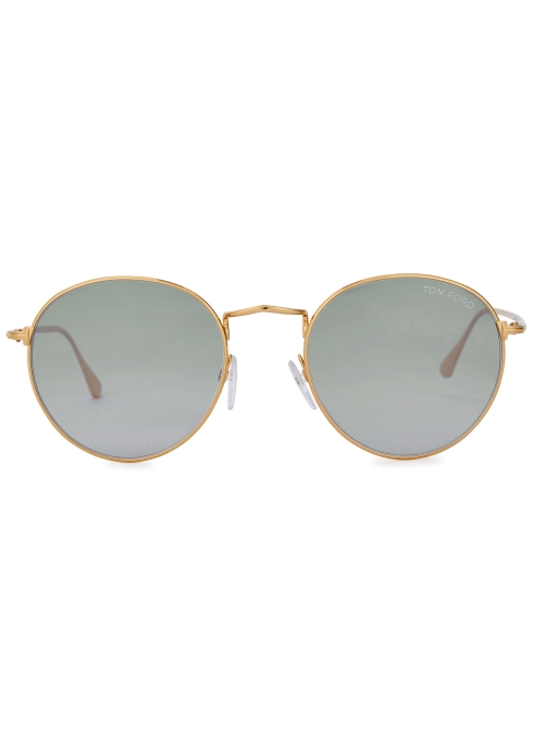 895776ee13d4f Tom Ford Ryan gold tone round-frame sunglasses - Harvey Nichols