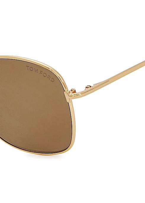 62407f457 Tom Ford Luca gold tone mirrored sunglasses - Harvey Nichols