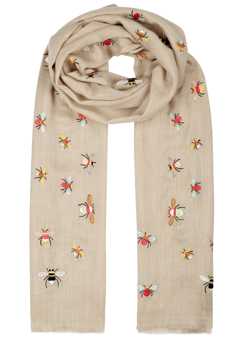 JANAVI LITTLE BEES EMBROIDERED CASHMERE SCARF