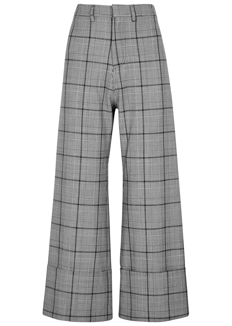 SEA NY Bacal Checked High-Waisted Trousers in Grey