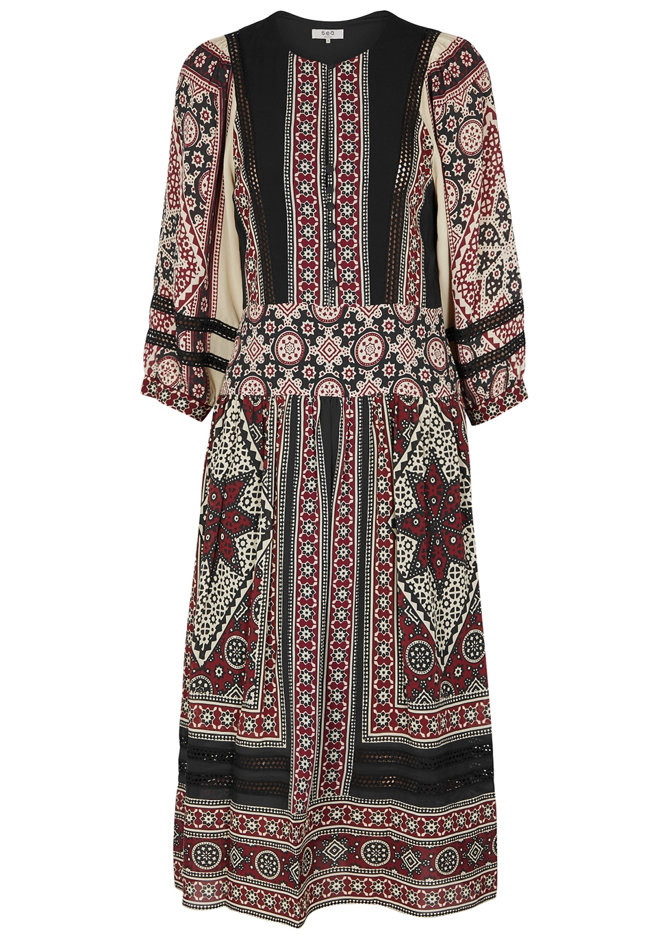 SEA NY Ezri Printed Chiffon Midi Dress in Multicoloured