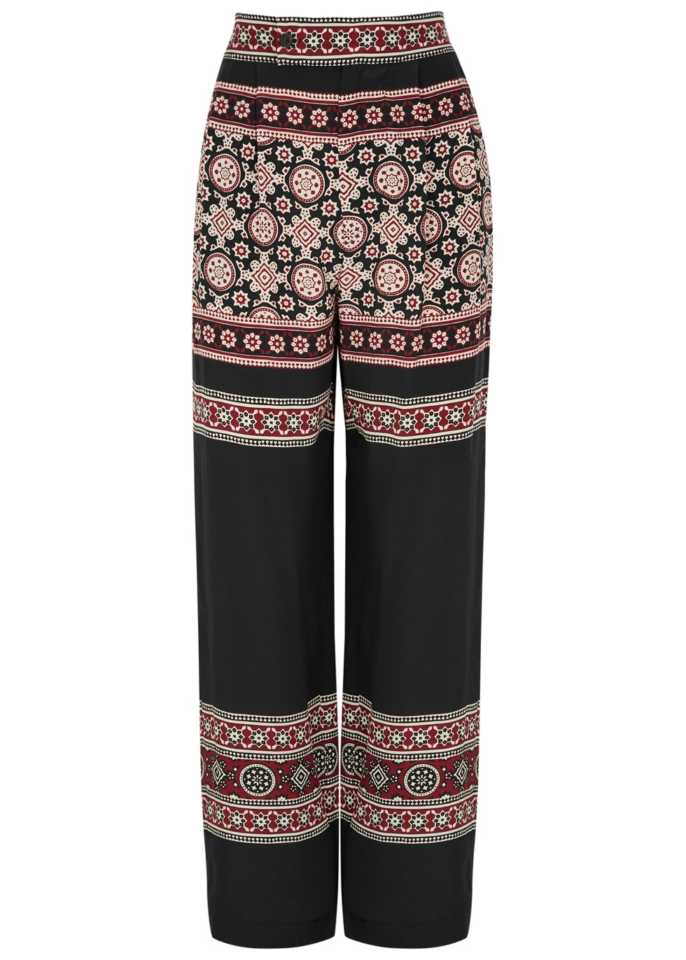 SEA NY Ezri Printed Silk Trousers in Multicoloured
