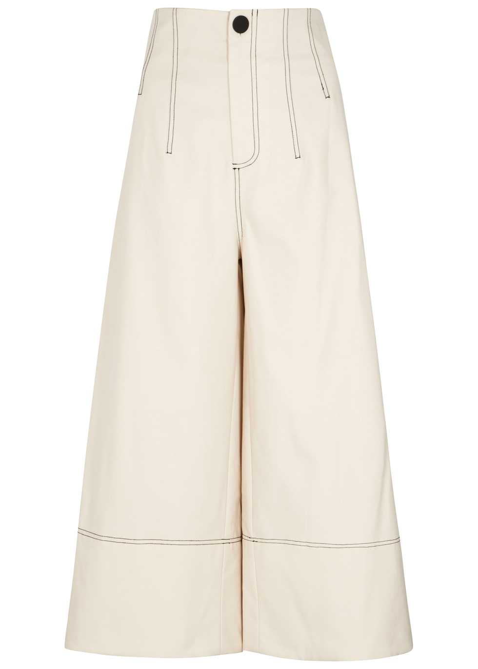 SEA NY Kamille Ecru Stretch-Cotton Culottes in Cream