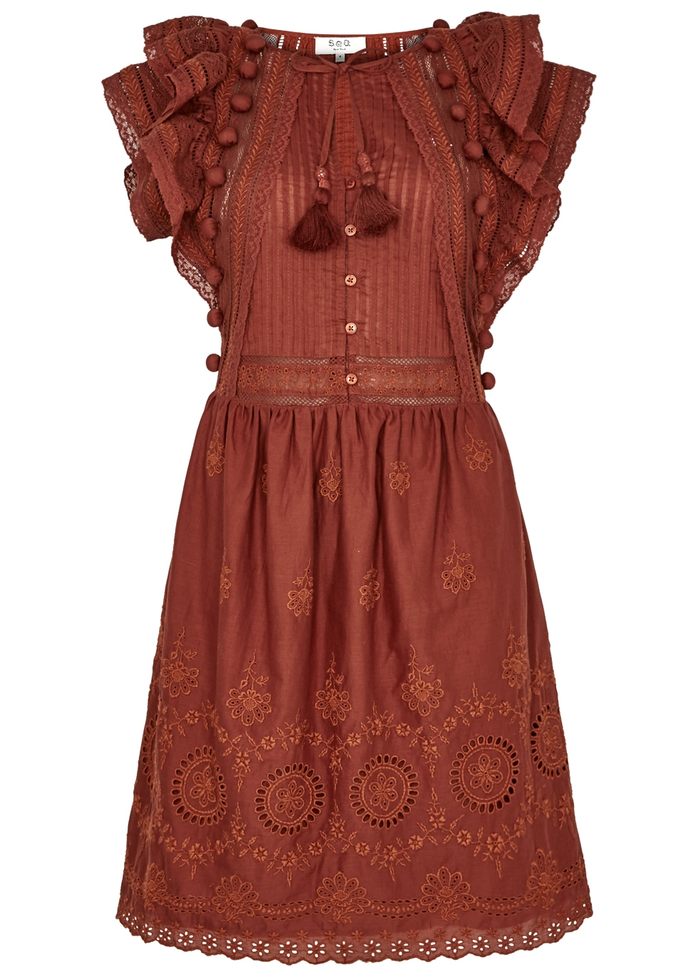 SEA NY SOFIE EMBROIDERED COTTON DRESS
