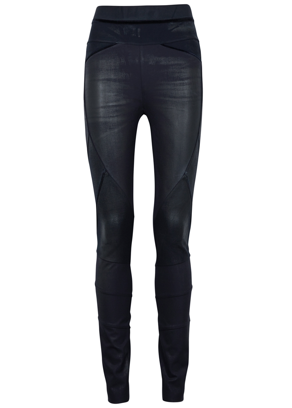HIGH MIDNIGHT BLUE COATED STRETCH-JERSEY LEGGINGS