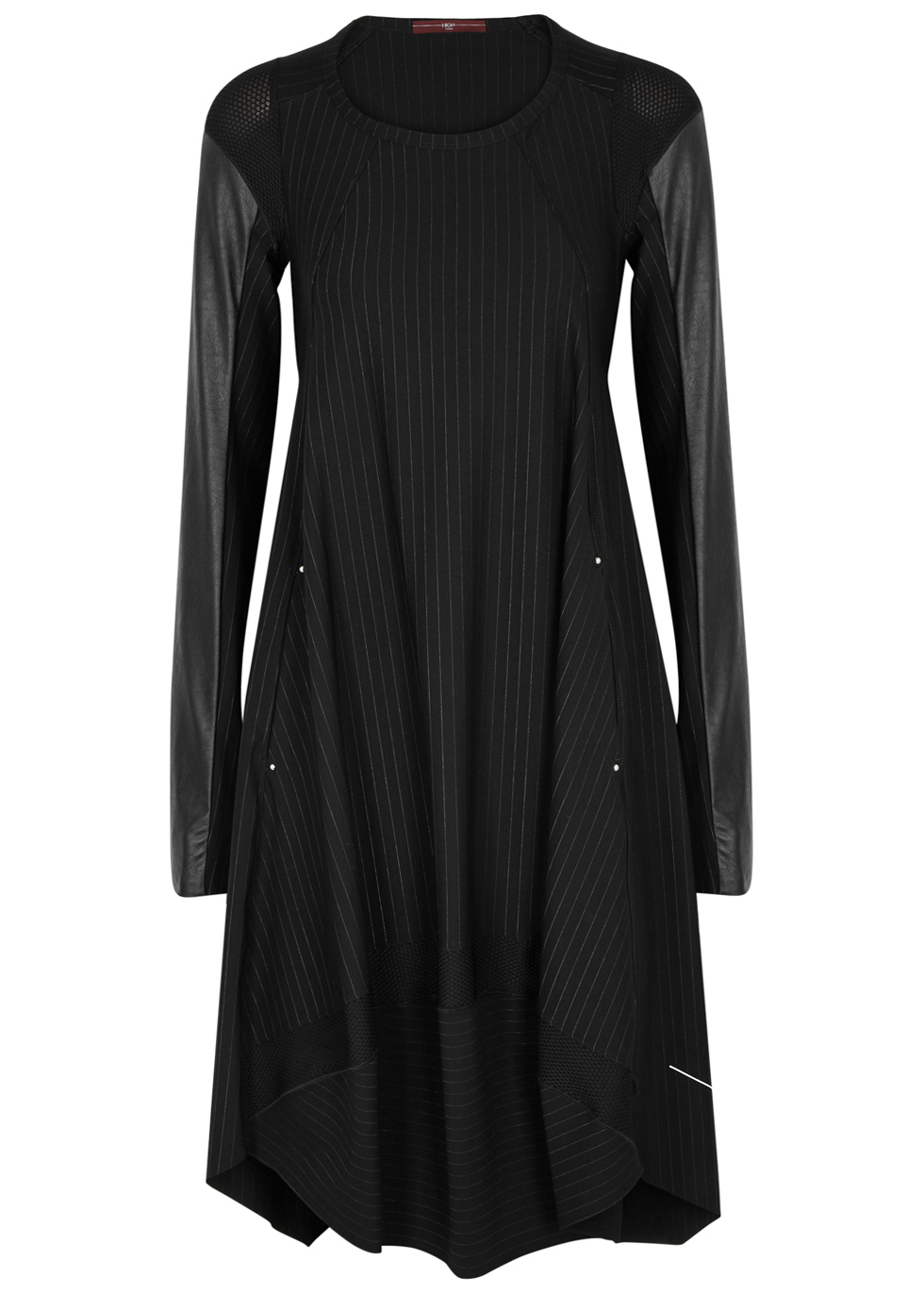 HIGH FOREVER PINSTRIPED DRAPED JERSEY DRESS