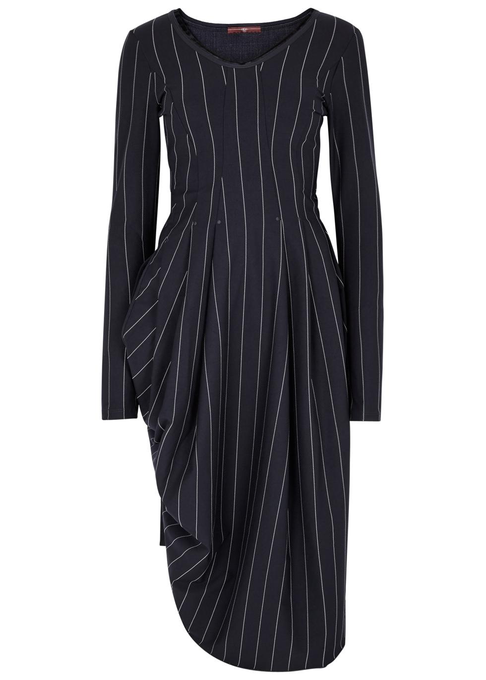 HIGH SLENDER NAVY PINSTRIPED JERSEY DRESS
