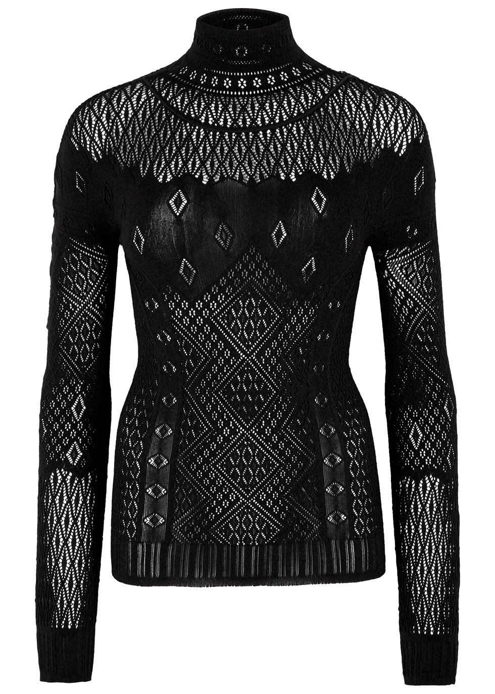 HIGH APPLAUSE BLACK POINTELLE-KNIT TOP