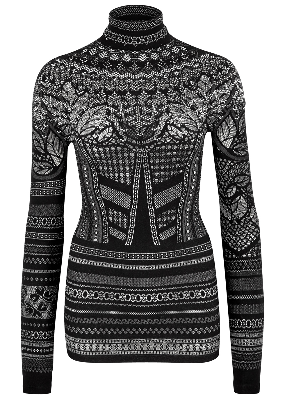 HIGH ICON STUD-EMBELLISHED JERSEY TOP