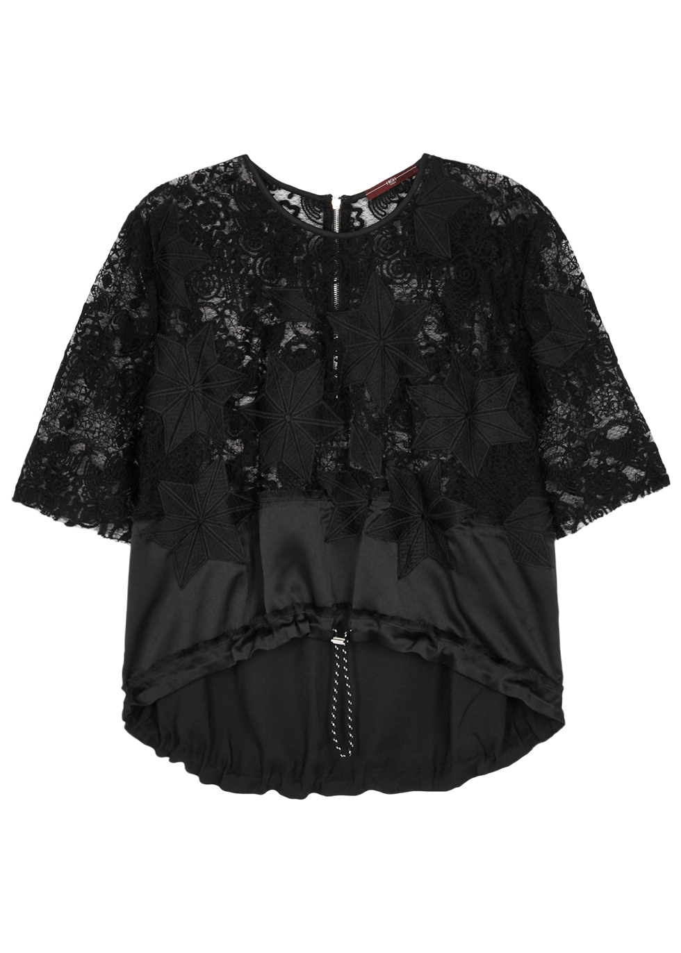 HIGH STARLIT EMBROIDERED LACE TOP