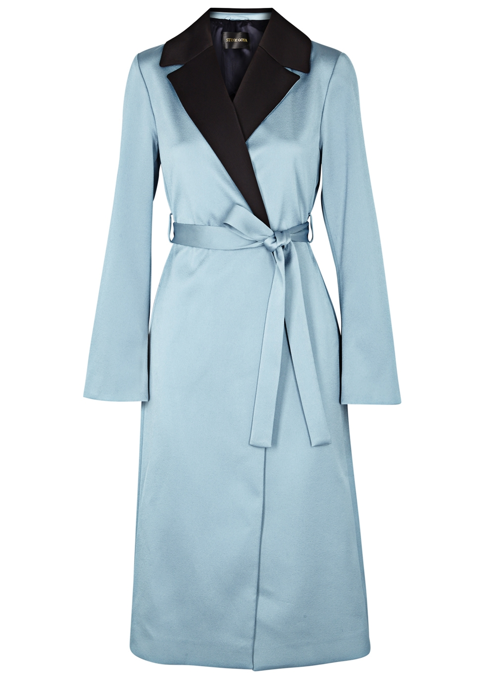 Leanne Two-Tone Hammered-Satin Coat in Blue