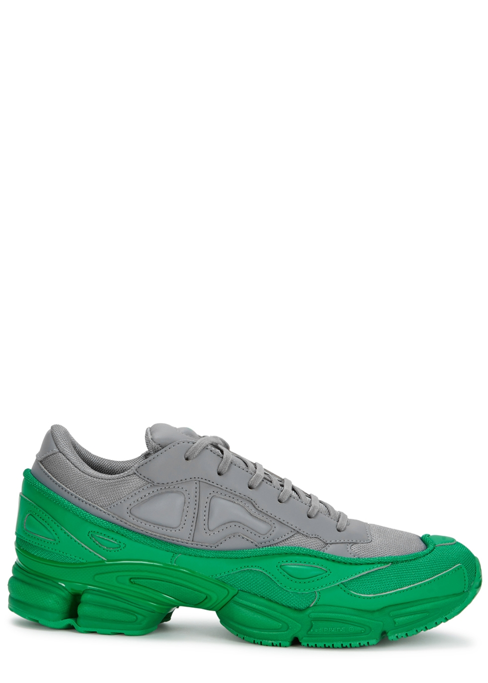 Adidas X Raf Simons Ozweego Colour-Block Leather Trainers in Grey