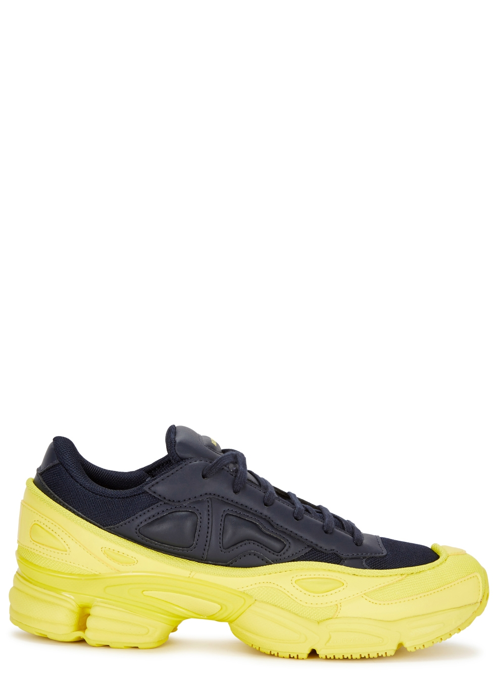 Adidas X Raf Simons Ozweego Colour-Block Leather Trainers in Yellow Navy