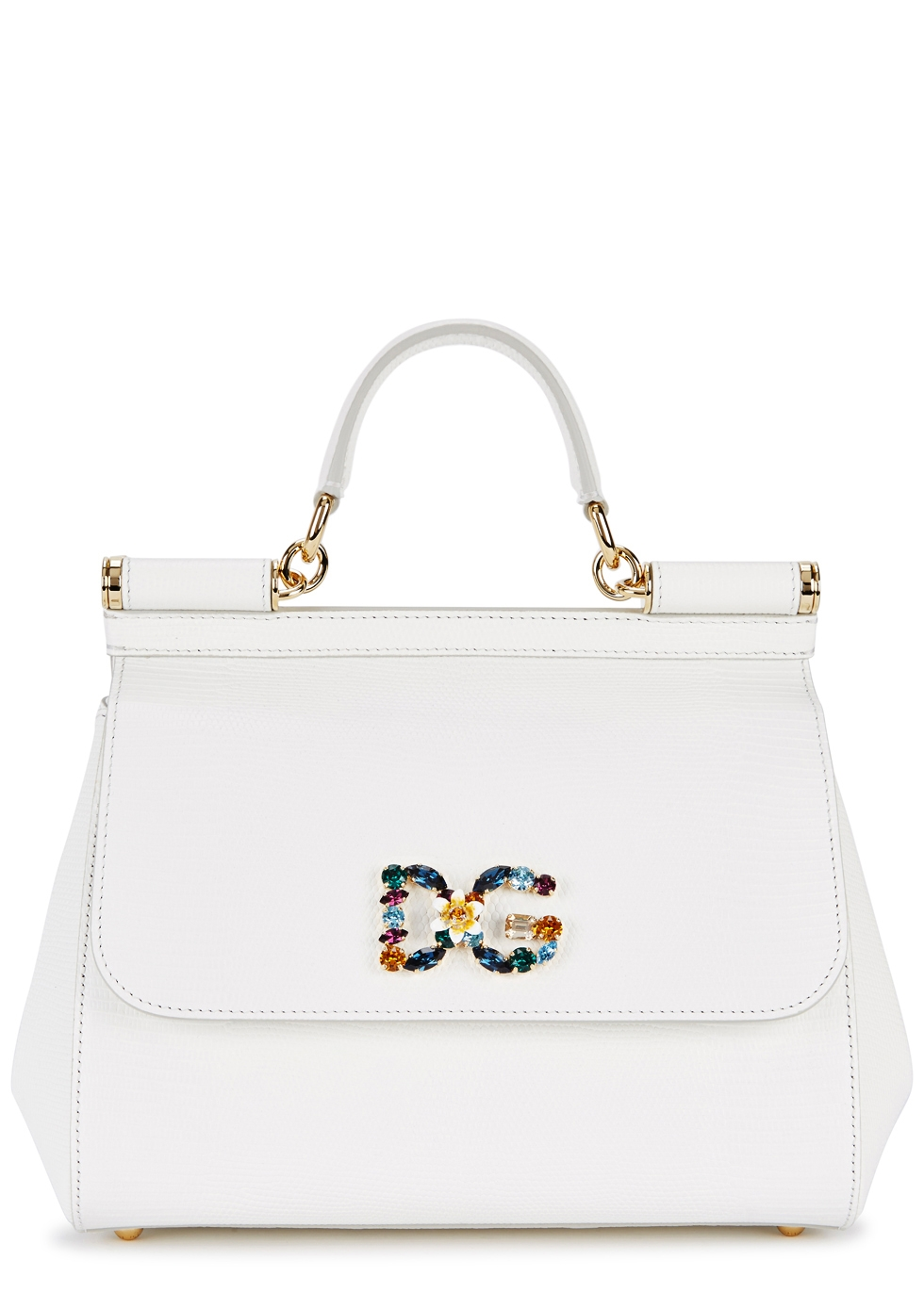 SICILY MEDIUM WHITE LEATHER TOTE