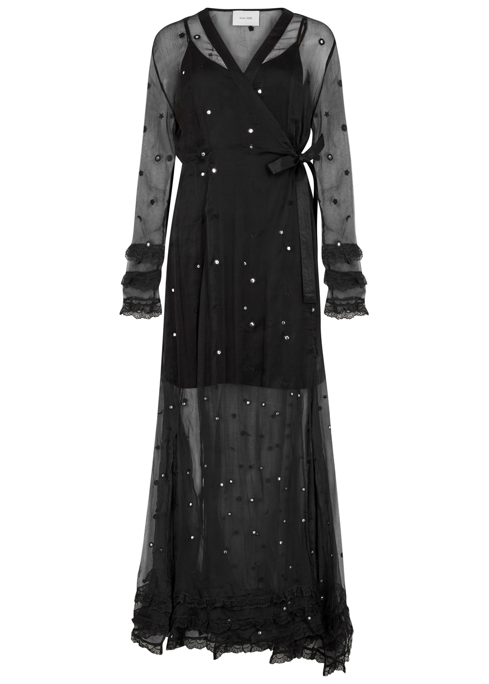 WE ARE LEONE Black Embellished Chiffon Wrap Dress