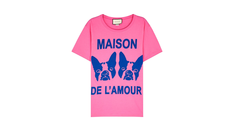 346e4f966ec Gucci Pink printed cotton T-shirt - Harvey Nichols