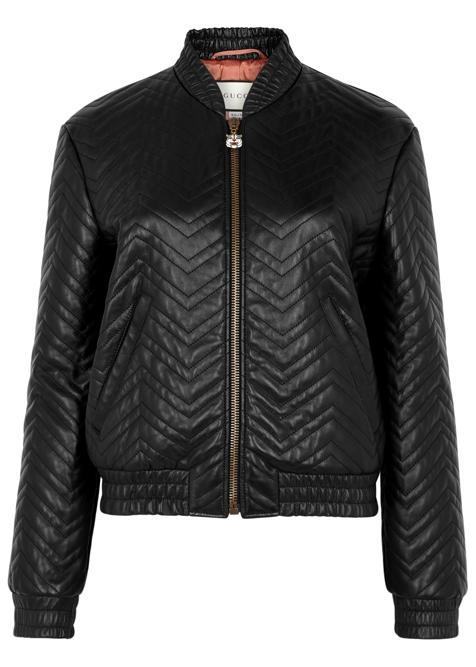 Black Matelassé Leather Bomber Jacket