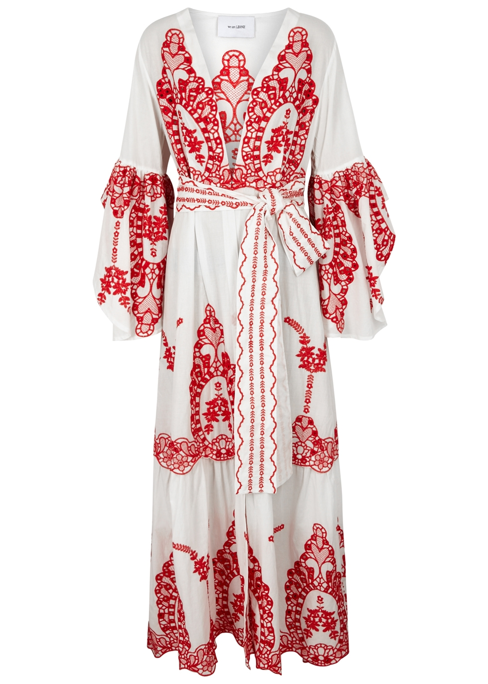 WE ARE LEONE Off White Embroidered Cotton Maxi Jacket in Neutrals