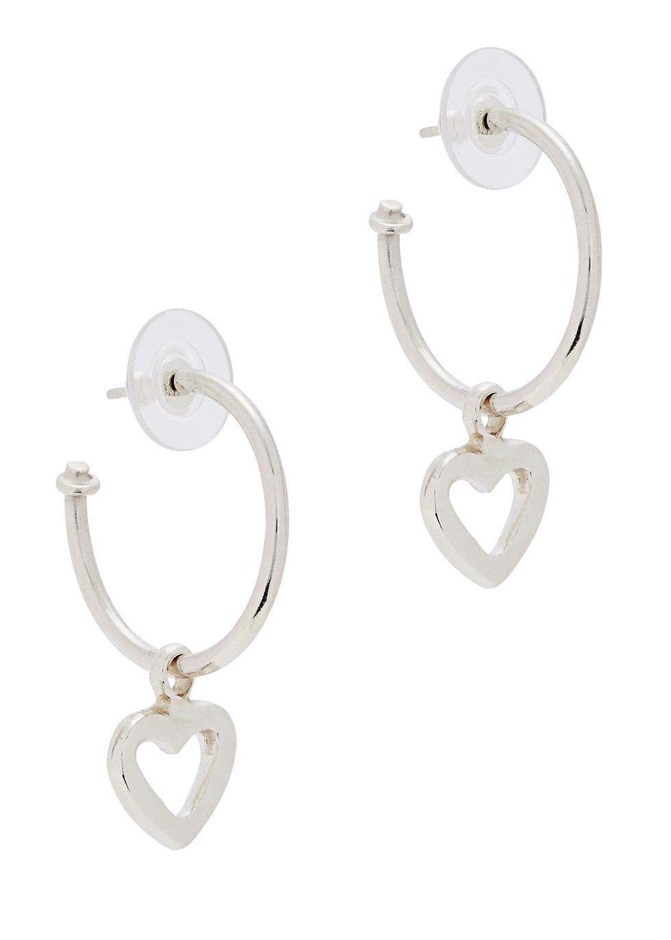 MUSE STUDIO Open Heart Silver Hoop Earings