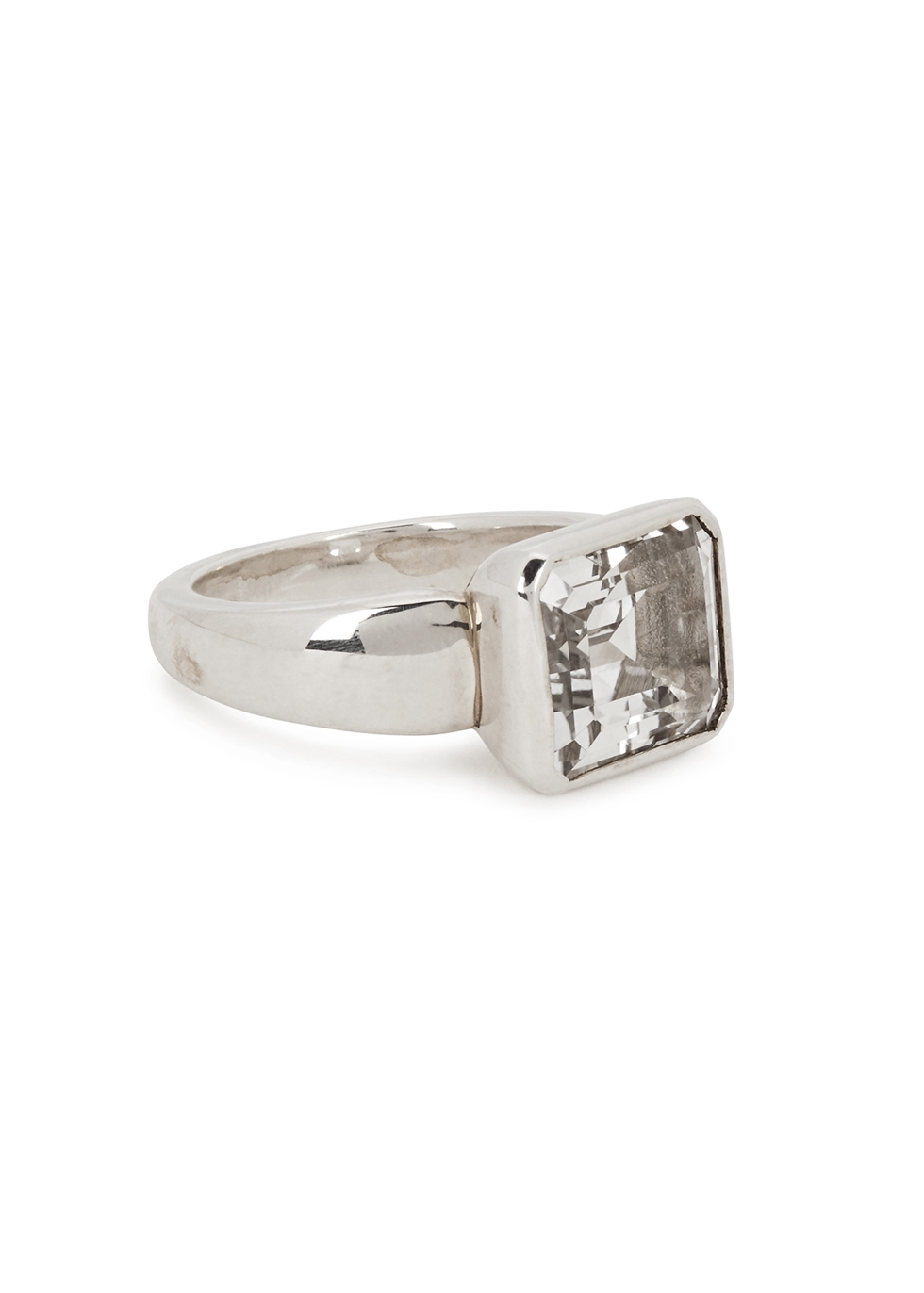WHITE TOPAZ STERLING SILVER RING