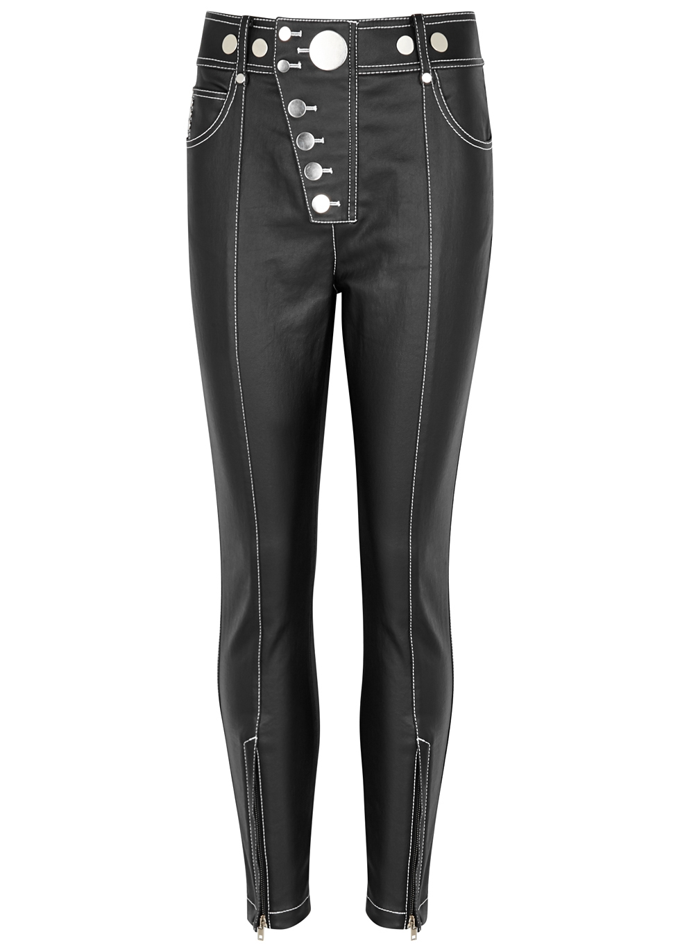 BUTTON-DETAILED COATED COTTON-BLEND PANTS