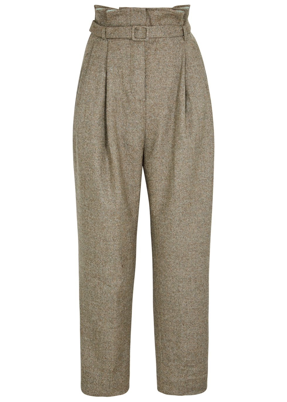 ANNA OCTOBER TWEED TAPERED-LEG TROUSERS