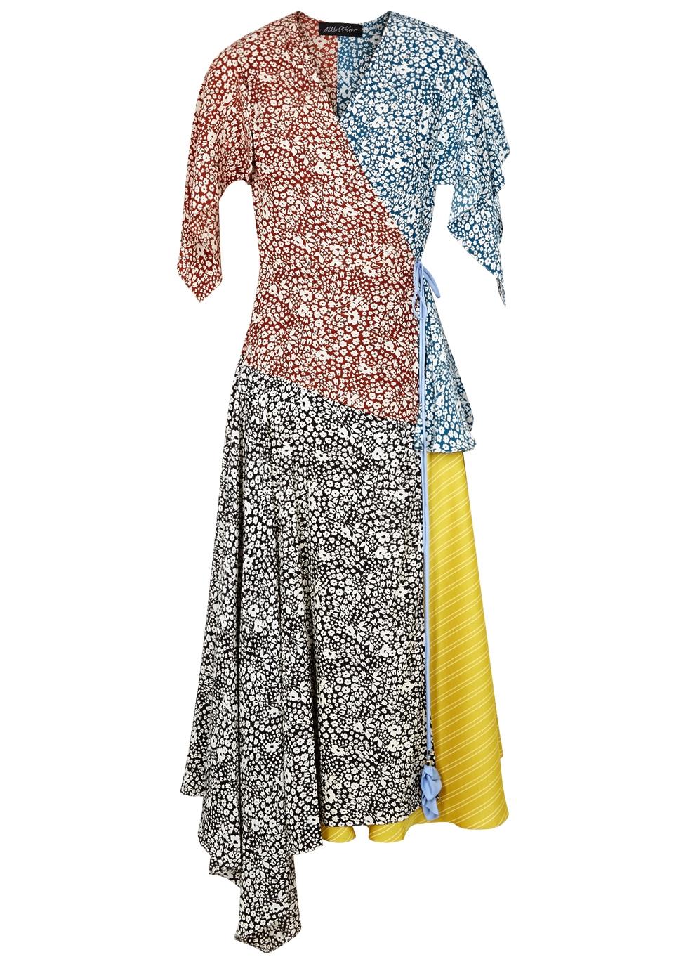 ANNA OCTOBER CONTRAST-PRINT ASYMMETRIC WRAP DRESS