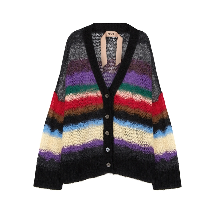 N°21  MAGLIA OPEN-KNIT MOHAIR BLEND CARDIGAN
