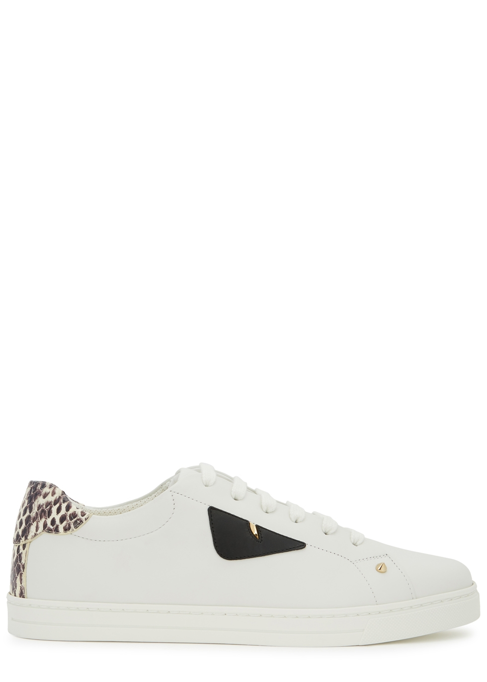 Monster White Leather Trainers, White/ Snakeprint