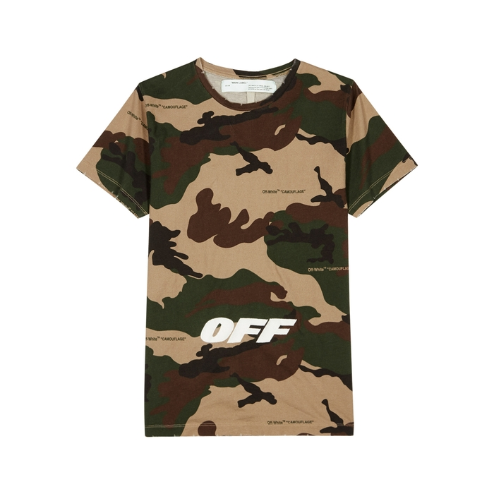 Off-White Camouflage Printed Cotton T-shirt
