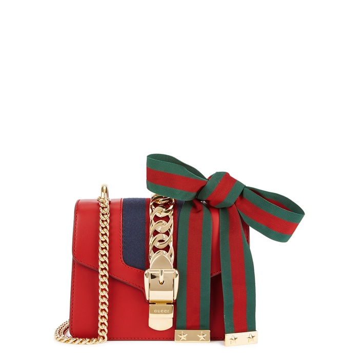 004027d5b1c16 Gucci Sylvie Mini Chain-Embellished Leather Shoulder Bag In Red ...