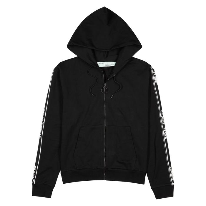 Off-White Black Hooded Cotton Sweatshirt
