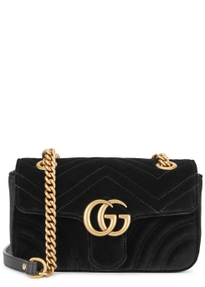 Gg Marmont Mini Velvet Shoulder Bag