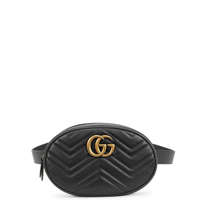 d7a7a077b9b Gucci Gg Marmont Black Leather Belt Bag In 1000 Black
