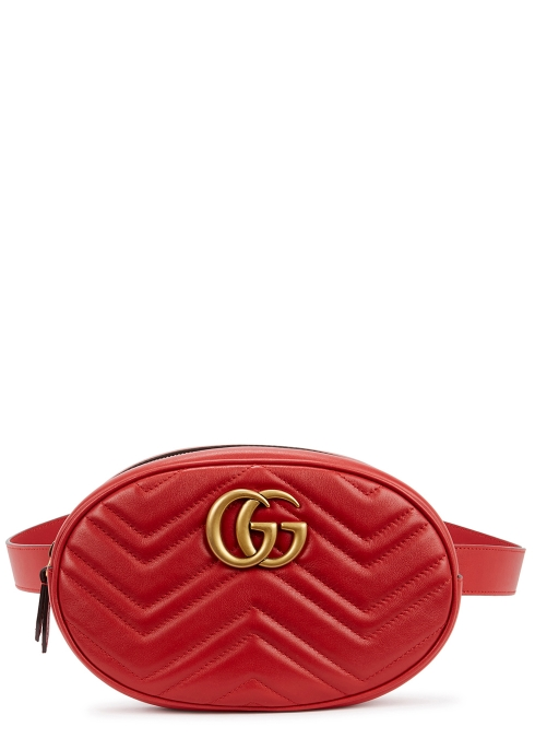 08614060152 Gucci GG Marmont red leather belt bag - Harvey Nichols