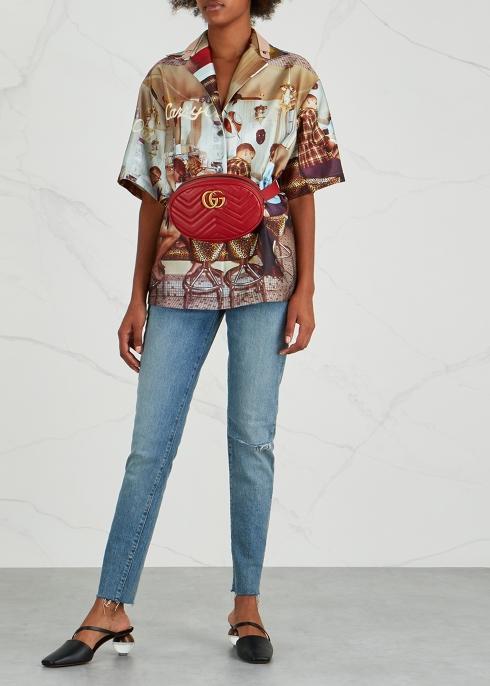 35c66a951e8 Gucci GG Marmont red leather belt bag - Harvey Nichols