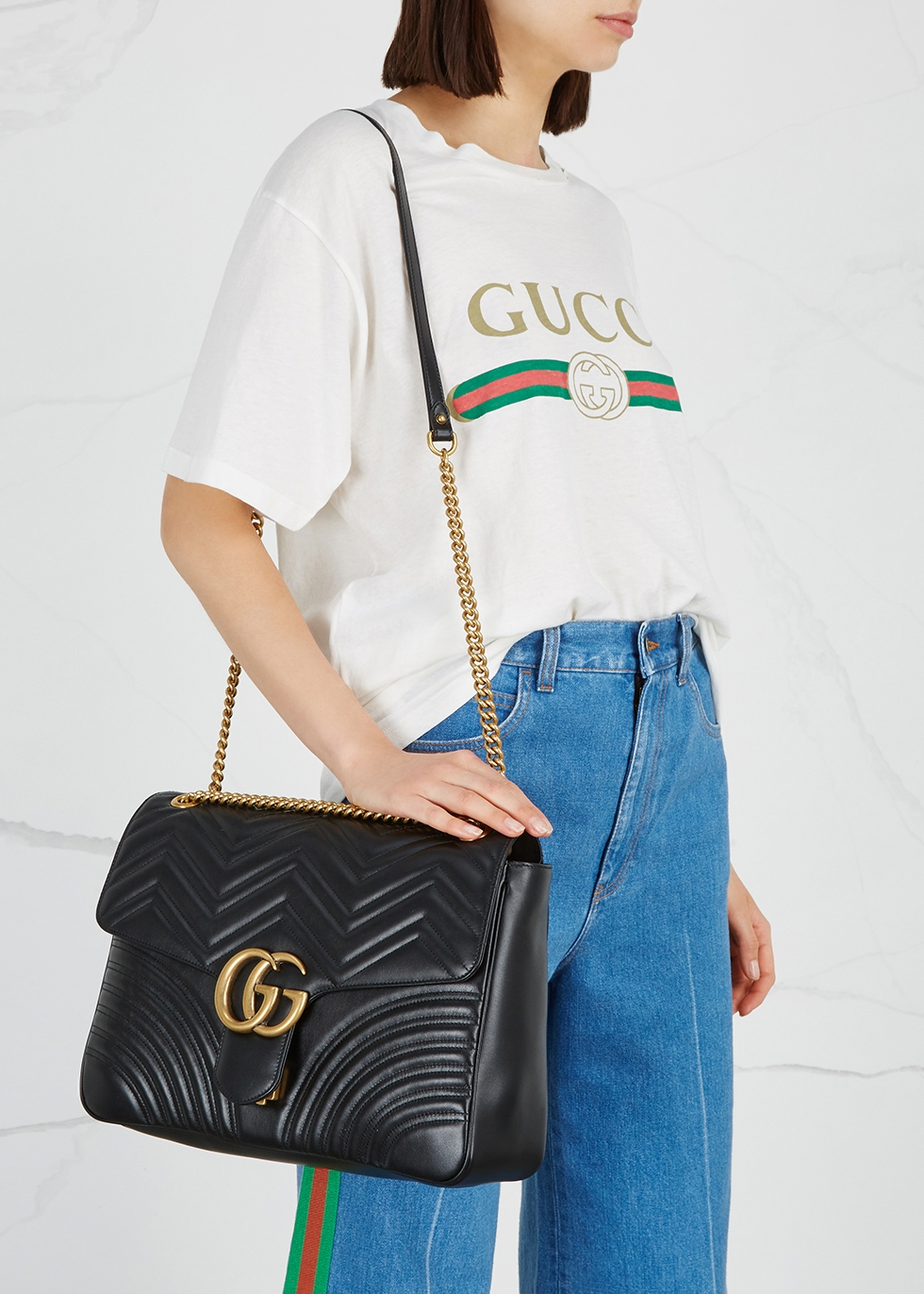 b5f6499a872 Gucci GG Marmont large leather shoulder bag - Harvey Nichols