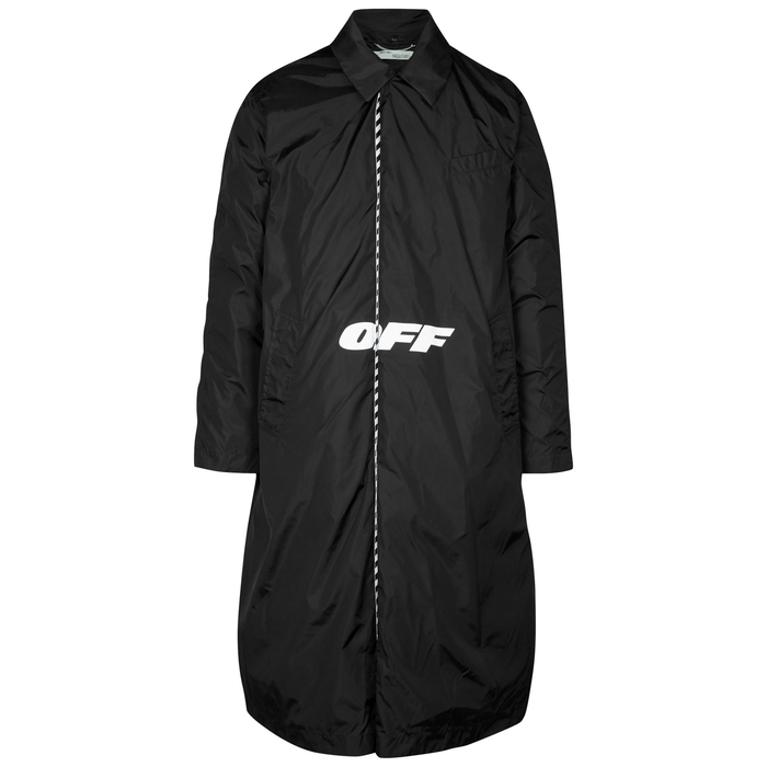 Off-White Black Printed Multiway Shell Coat