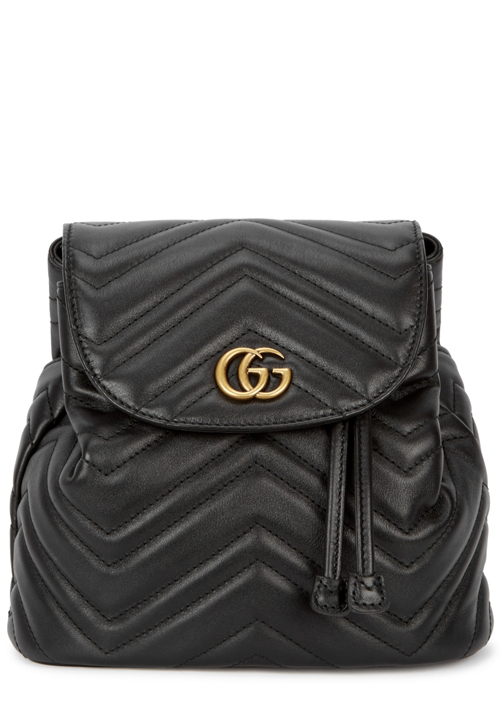 GG MARMONT BLACK LEATHER BACKPACK
