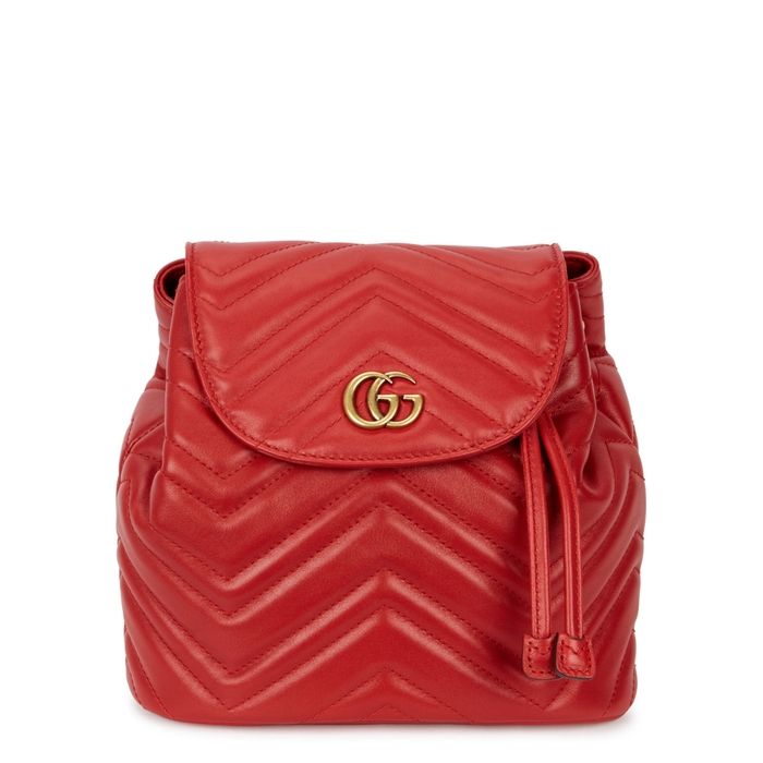 5b5cada826dfc GUCCI GG MARMONT RED LEATHER BACKPACK