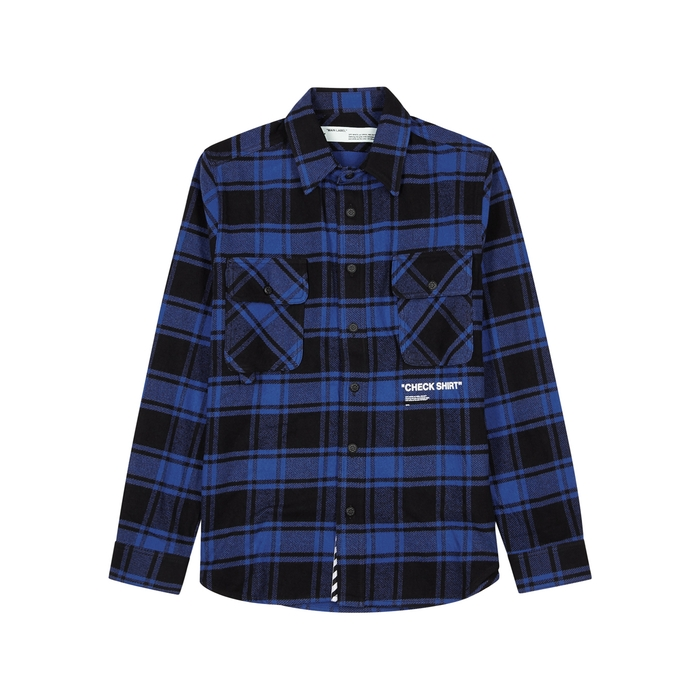 Off-White Blue Checked Cotton-blend Shirt