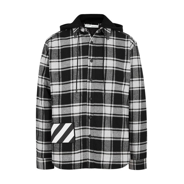 Off-White Checked Hooded Cotton Jacket